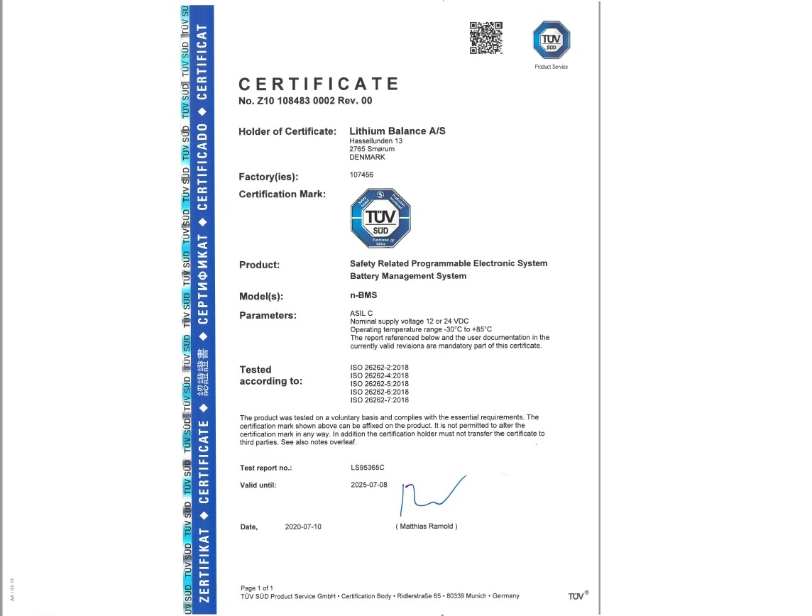 Lithium Balance BMS has been awarded ISO 26262 certification